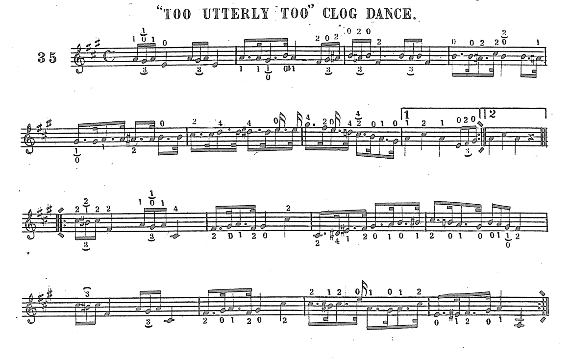 Sheet music for 'Too Utterly Too Clog Dance'