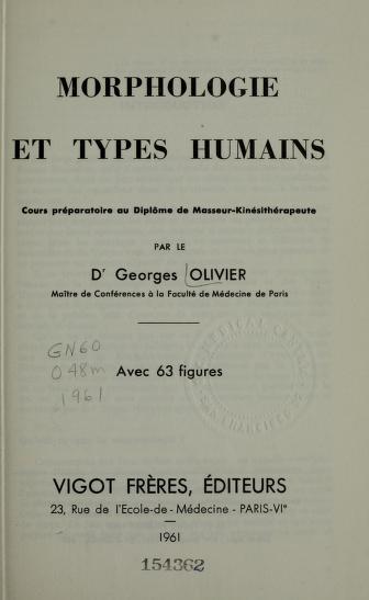 Morphologie et types humains by Georges Olivier